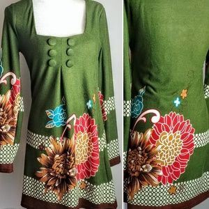 Aryeh Tunic Dress Anthropologie Med Green floral